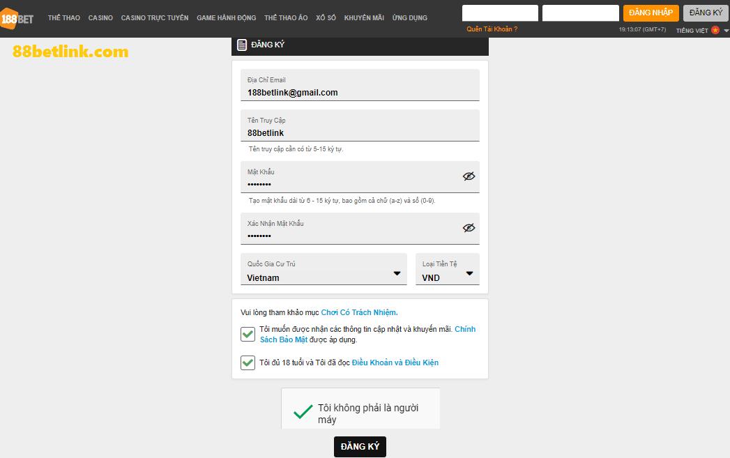 đăng ký 188bet trên website